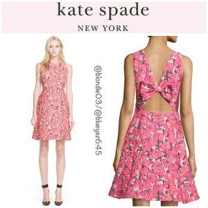 Kate Spade rose floral brocade open back dress 8